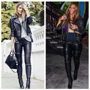 Zara Woman Black Faux Leather Moto Skinny Pants